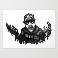 chance the rapper Art Prints featuring Chance the Rapper Lithograph by Drewnelz