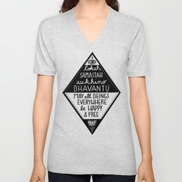 May all beings be happy and free Unisex V-Neck