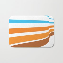 BLUE, ORANGE  AND BROWN LINES  ON A WHITE BACKGROUND Abstract Art Bath Mat