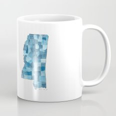 Mississippi Counties Blueprint watercolor map Mug