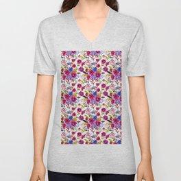 Pink lilac blue watercolor botanical floral pattern Unisex V-Neck