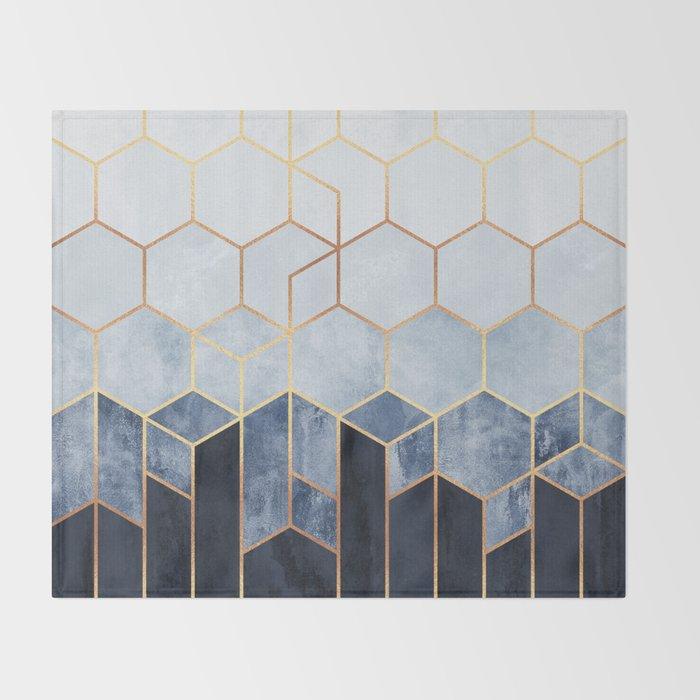 Soft Blue Hexagons Throw Blanket