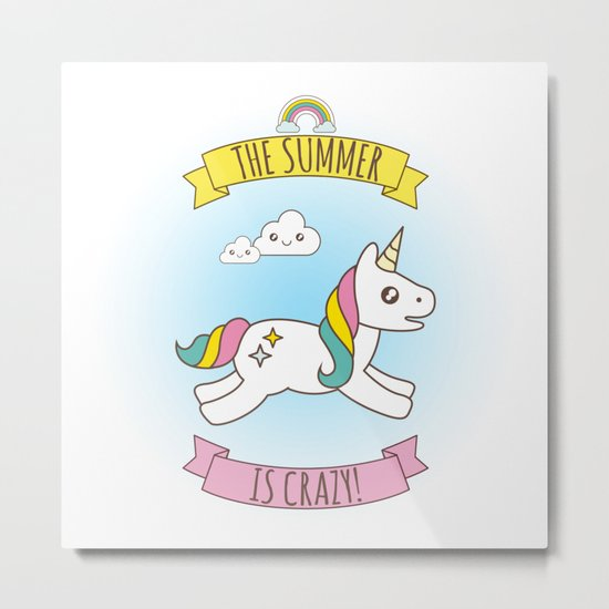 The Summer is Crazy - Unicorn Metal Print