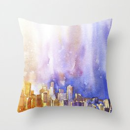 Skyline of downtown Seattle, Washington as viewed from atop Queen Anne Murray Hill.  Seattle artwork Throw Pillow