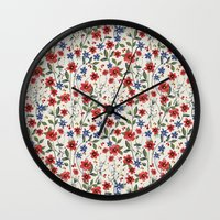 poppies Wall Clocks featuring Poppies by moniquilla