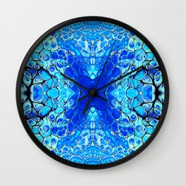 Blue liquid acrylic cells Wall Clock