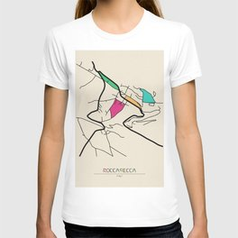 Colorful City Maps: Roccasecca, Italy T-shirt