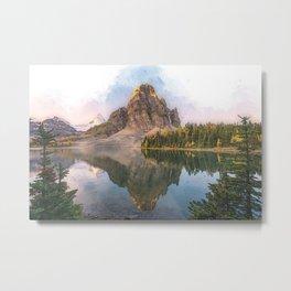 Lake Mountain Assiniboine Scenery Watercolor Paint Portrait Metal Print