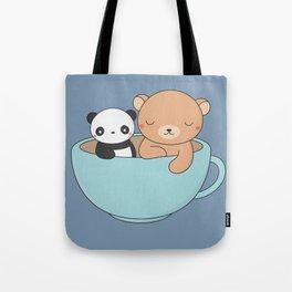 Kawaii Cute Brown Bear and Panda Tote Bag