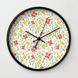 Fun Bright Botanical Floral Wall Clock