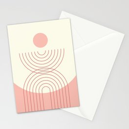 Geometric Lines in Pastel Pink Peach (Rainbow and Sun Abstraction) Stationery Cards