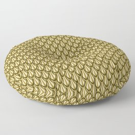 Gleaming Gold Leaf Scalloped Scale Pattern Floor Pillow