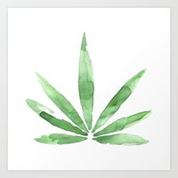 cannabis Art Prints featuring Cannabis   by kristinesarleyart