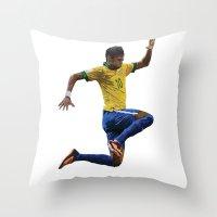 neymar Throw Pillows featuring World Cup - Brazil - Neymar by HonickDesign