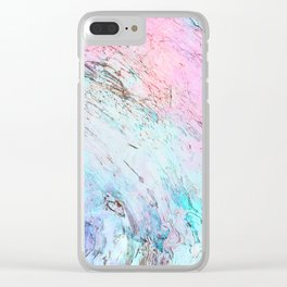 Abstract modern  pink teal lavender watercolor marble Clear iPhone Case