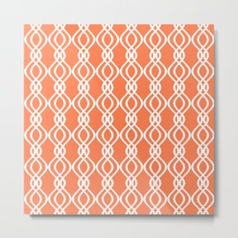 Coral and white curved lines Metal Print