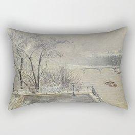 The Louvre under Snow Rectangular Pillow
