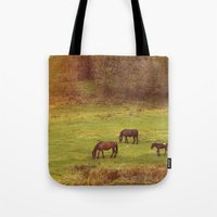 horses Tote Bags featuring Horses by SensualPatterns