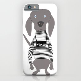 Weim Jailbird Grey Ghost Weimaraner Dog Hand-painted Pet Drawing iPhone Case