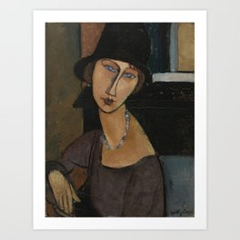 Modigliani - Jeanne Hebuterne With Hat And Necklace Art Print