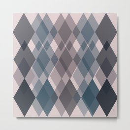 Confused Argyle in teal and rose - you might be drunk Metal Print