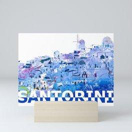 Santorini Skyline Silhouette Mini Art Print
