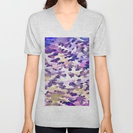 Foliage Abstract Camouflage In Pale Purple and Violet Pastels Unisex V-Neck
