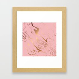 Liquid marble texture design, pink and gold Framed Art Print