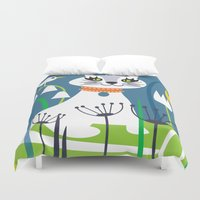 kitty Duvet Covers featuring KITTY by Shirley Copperwhite
