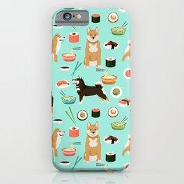 Shiba Inu noodles pho food cute dog art sushi dogs pet portrait pattern iPhone Case