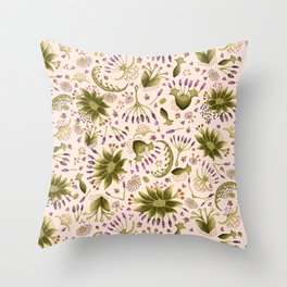 Botanical Wildflower Meadow Floral Watercolor Pink, Green, Lavender Flowers Throw Pillow