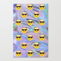 holographic Canvas Prints featuring Sunglasses Emoji Holographic by Andy Paik