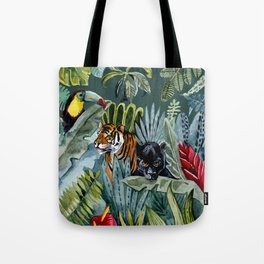 Jungle with tiger and tucan Tote Bag