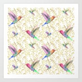 Hummingbirds In The Field Art Print
