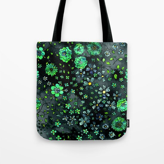 Green Small Flowers Tote Bag