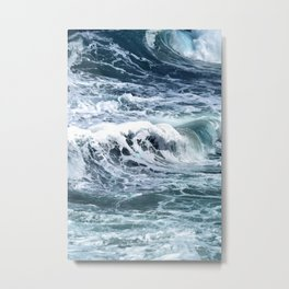 Blue Sea Ocean Waves Metal Print