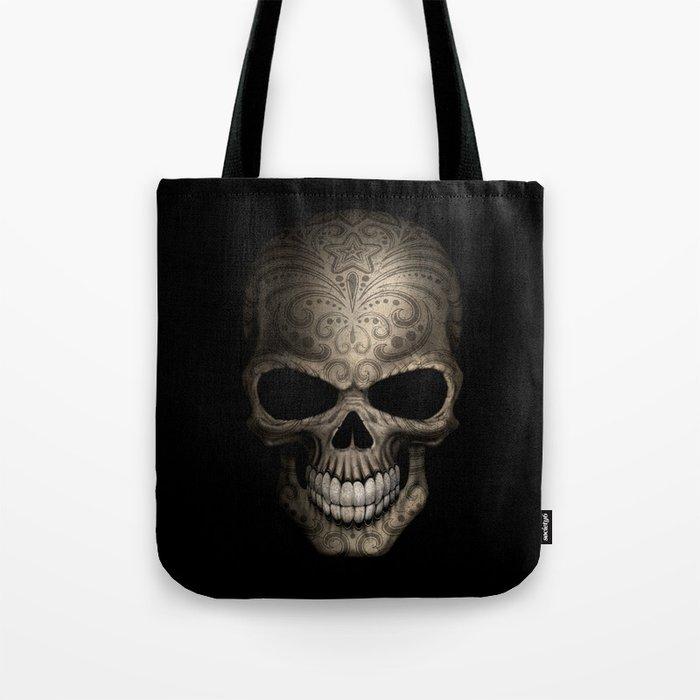 Decorated Dark Day of the Dead Sugar Skull Tote Bag