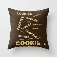 cookies Throw Pillows featuring COOKIES! by Lindsay Spillsbury