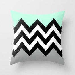 DOUBLE COLORBLOCK CHEVRON {MINT/BLACK/GRAY} Throw Pillow