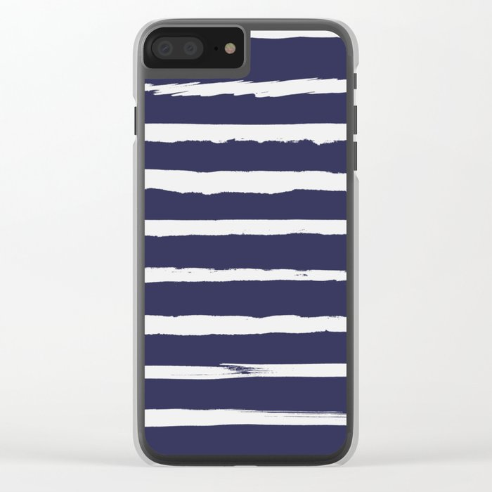 Irregular Hand Painted Stripes Dark Blue Clear iPhone Case