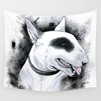terrier Wall Tapestries featuring Bull Terrier by kitara