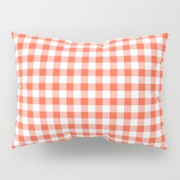 Living Coral Color of the Year Orange and White Buffalo Check Plaid Pillow Sham