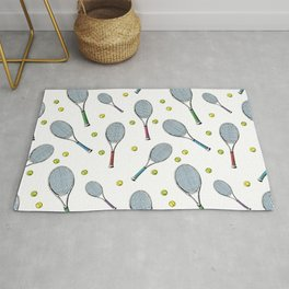 Tennis pattern. Hand-drawn colored sketch style tennis racquet with yellow tennis balls on white bac Rug