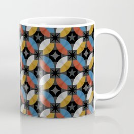 Interlacing circles parts retro hand drawn illustration pattern. Guatrefoil flower red diamond lattice endless ornament. Circle elements repeating background. Coffee Mug