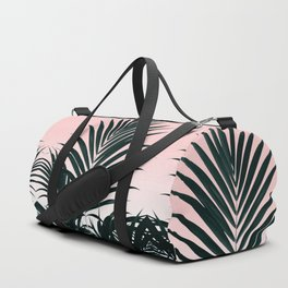 Tropical Green palm tree leaf blush pink gradient photography Duffle Bag