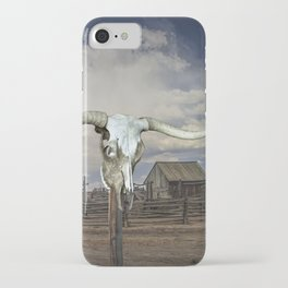 Steer Skull and Western Fenced Corral iPhone Case