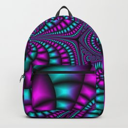 Purple and Teal Mosaic Fractal Backpack