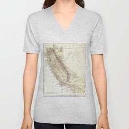 Vintage Map of California (1878)  Unisex V-Neck