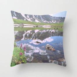 Pacific Peak Reflection on Upper Mohawk Lake, Colorado Throw Pillow
