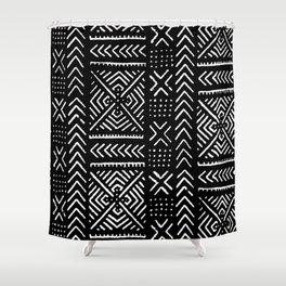 Line Mud Cloth // Black Shower Curtain